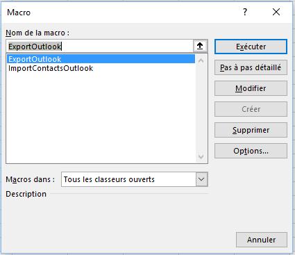Importer des données de contacts dans Outlook à partir d